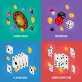 Isometrisches Konzept des Entwurfes des Kasinos von spielenden Schablonen Stockfoto