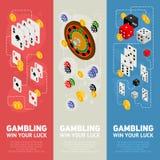 Isometrisches Konzept des Entwurfes des Kasinos von spielenden Schablonen Lizenzfreies Stockfoto