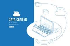 Isometrisches Konzept des Entwurfszeichnungs-Rechenzentrums mit on-line Datei Speicher, Wolken und Laptop Flache 3d Illustration  Vektor Abbildung