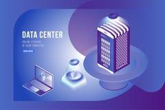 Isometrisches Konzept des Rechenzentrums mit on-line Datei Speicher und Laptop Flache 3d Illustration EPS10 Lizenzfreie Abbildung