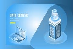Isometrisches Konzept des Rechenzentrums mit on-line Datei Speicher und Laptop Flache 3d Illustration EPS10 Stock Abbildung