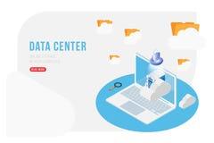 Isometrisches Konzept des Rechenzentrums mit on-line Datei Speicher, Wolken und Laptop Flache 3d Illustration EPS10 Stock Abbildung
