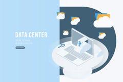 Isometrisches Konzept des Rechenzentrums mit on-line Datei Speicher, Wolken und Laptop Flache 3d Illustration EPS10 Vektor Abbildung