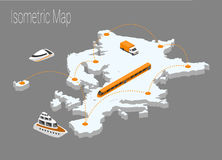 Isometrisches Konzept Karten-Europas Lizenzfreie Stockfotografie