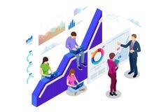 Isometrisches Konzept Netzfahne Daten Analisis und Statistiken Vektorillustrations-Geschäftsanalytik, Datensichtbarmachung lizenzfreie abbildung