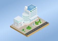 Isometrisches Krankenhaus- und Notgebäude Lizenzfreies Stockbild