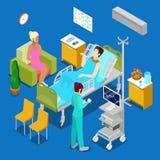 Isometrisches Krankenhauszimmer mit Patienten und Krankenschwester Konzept des Gesundheitswesen-3d stock abbildung