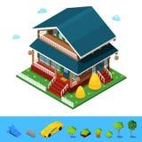Isometrisches ländliches Cottege-Gebäude-Haus Stockbilder
