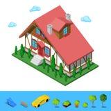 Isometrisches ländliches Cottege-Gebäude-Haus Stockfoto
