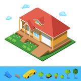 Isometrisches ländliches Gebäude-Haus Stockbilder