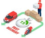 Isometrisches Lieferungsservicekonzept Schnelles Lieferungsauto, schnelles Lieferung motobike, Lieferer, Stoppuhr Vektor 3D Stockbilder
