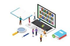 Isometrisches on-line-Ablesenkonzept 3d mit Büchern oder ebooks Sammlung mit Teamleuten lasen mit moderner flacher Art - Vektor lizenzfreie abbildung