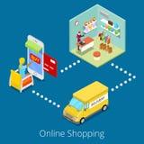 Isometrisches on-line-Einkaufen Kaufende Kleidung der flachen Frauen-3d im Netz-Speicher mit Lieferung Lizenzfreies Stockfoto