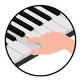 Isometrisches Logo übergibt Pianisten stock abbildung