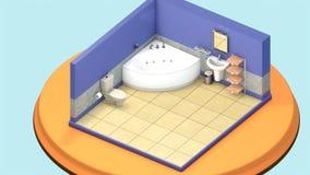 Isometrisches Minibadezimmer Lizenzfreies Stockfoto