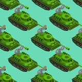 Isometrisches nahtloses Muster Toy Tanks Militärfahrzeugspielzeug clockw Stockfoto