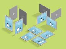 Isometrisches Pinguin-Tablet-verschiedener Ansicht-Vektor stock abbildung