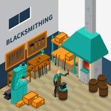 Isometrisches Plakat Schmiede-Shop Facility Indoors Lizenzfreie Stockfotografie