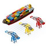 Isometrisches Schiff mit Kran-Vektor-Illustration Lizenzfreie Stockfotos
