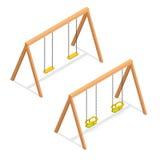 Isometrisches Schwingen für Kinder und Kleinkinder Spielplatzelement-Vektorikone Vektor Abbildung