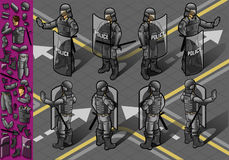 Isometrisches Set acht policemans Stellung Stockbilder
