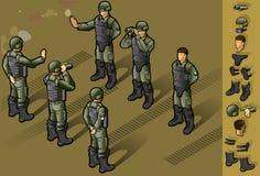 Isometrisches Set der Militärleutestellung Stockbild
