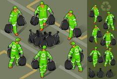Isometrisches Set des Abfallmannes Lizenzfreie Stockfotografie