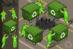 Isometrisches Set des Abfallmannes Stockbild