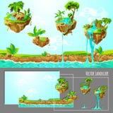 Isometrisches Spiel-tropische Natur-Landschaftsschablone vektor abbildung