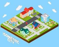 Isometrisches Stadt-Projekt Stockbild