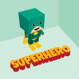 Isometrisches Thema des erstaunlichen Superhelden Stockbilder