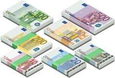 Isometrisches volles Set Eurobanknoten Lizenzfreie Stockfotografie