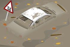 Isometrisches weißes Auto Flooden in der hinteren Ansicht Lizenzfreie Stockfotos