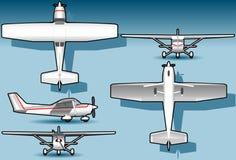 Isometrisches weißes Flugzeug in Stellung fünf Stockfotografie