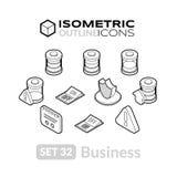 Isometrisk översiktssymbolsuppsättning 32 Fotografering för Bildbyråer
