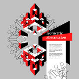 Isometrisk abstraktion för röd och svart kontrast i plan stil med Royaltyfri Bild