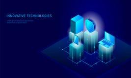 Isometrisk affärsidé för internetsäkerhetssköld Blå glödande isometrisk för dataanslutning för personlig information PC Royaltyfri Foto