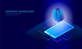 Isometrisk affärsidé för konstgjord intelligens Blå glödande isometrisk för dataanslutning för personlig information PC royaltyfri illustrationer
