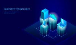 Isometrisk affärsidé för säkerhetsmolnlagring Blå glödande isometrisk för dataanslutning för personlig information PC Arkivbild