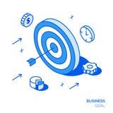 Isometrisk affärsmållinje stilbegrepp Målillustration Arkivfoto