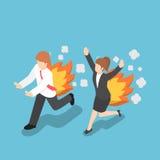 Isometrisk affärsman Running med baksida på brand Stock Illustrationer