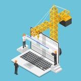 Isometrisk affärsman som försöker att öka websiterangen på sökande Stock Illustrationer