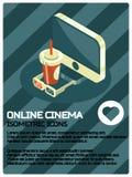 Isometrisk affisch för online-biofärg vektor illustrationer