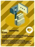 Isometrisk affisch för postfärg Arkivfoto