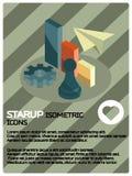 Isometrisk affisch för Startup färg Royaltyfri Bild