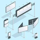 Isometrisk affischtavla Uppsättning av olika perspektiv som annonserar på konstruktion för stor affischtavla för utomhus- adverti stock illustrationer