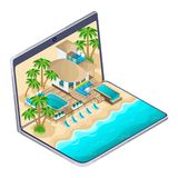 Isometrisk annonsering av semesterorten på Maldivernaen på en bärbar dator, ett ljust annonserande loppbegrepp ett lyxigt hotell royaltyfri illustrationer