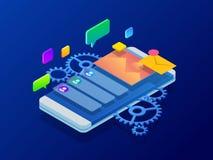 Isometrisk användareerfarenhet, optimerande användareerfarenhet i e-kommers Utveckling för app för teckningswebsiteux framkallnin vektor illustrationer