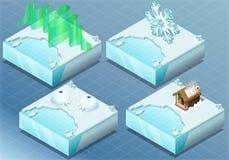 Isometrisk arktisk igloo, morgonrodnad, bastu, snöflinga Arkivbild