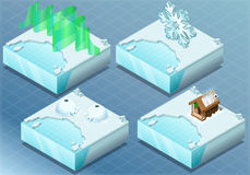 Isometrisk arktisk igloo, morgonrodnad, bastu, snöflinga stock illustrationer